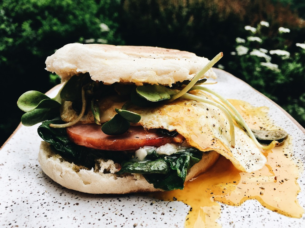 cheeseychard breakfast sandwich
