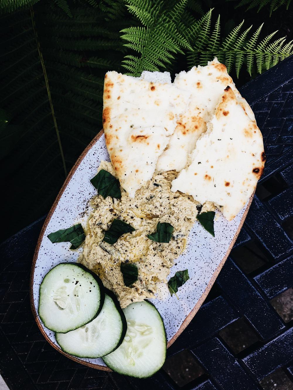 Garlic Scape Hummus Close Overhead View