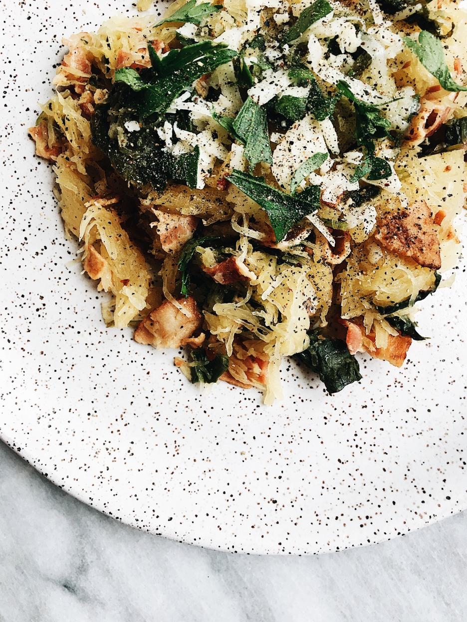 spaghetti squash and kale
